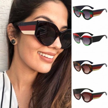 Multicolored thick legs trendy cute cat eyes sunglasses