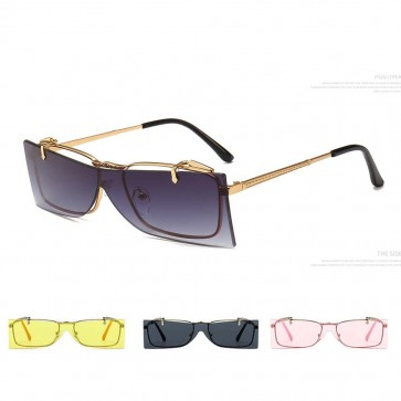 Minimal metal frame one piece flip up lens sunglasses