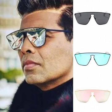 Oversize tear drop shield lens metal aviator sunglasses