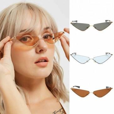 Half Rimless Chic Edgy Slim Cat's Eye Tiny Sunglasses