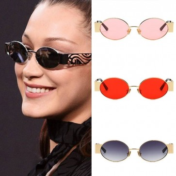 Vintage Steampunk Cyber Goggles Oval Metal Sunglasses
