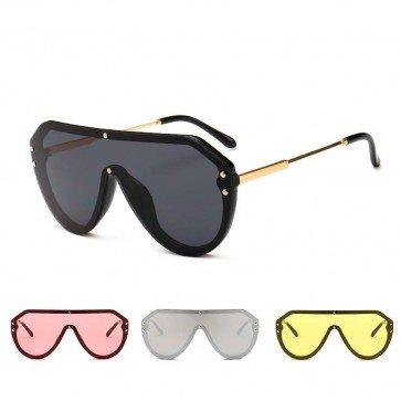 Oversize Frame One Piece Lens Aviator Shield Sunglasses