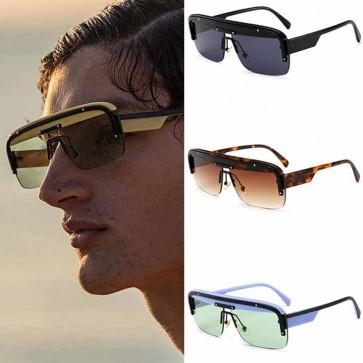 Modern Half Frame Flat Top Rectangle Aviator Sunglasses