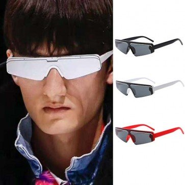 Futuristic shield sunglasses flat top mono lens