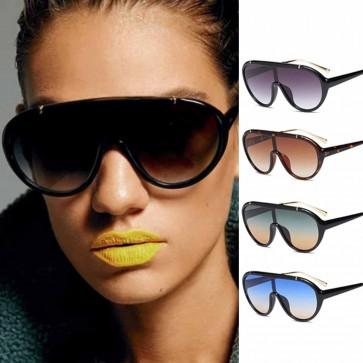 Oversize aviator shield sunglasses one piece goggles