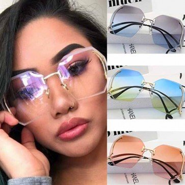 Rimless See-Through Lens Heptagon Oversized Sunglasses