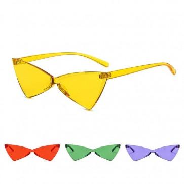 Cute cat eye sunglasses vibrant tint triangle flat lens