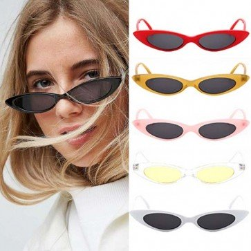 Dramatically Narrow Sleek Cat Eye Small Sunglasses