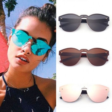 Vintage Single Nose Bridge Round Shield Lens Sunglasses