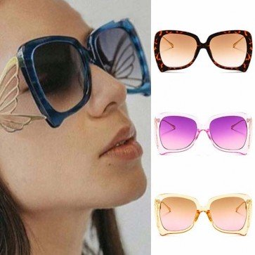 Multicolored frame gradient lens butterfly sunglasses