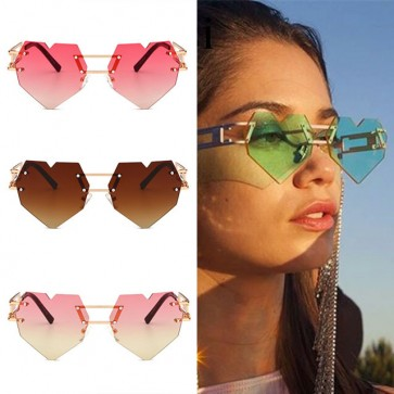 Candy Colored Translucent Rimless Punk Heart Sunnies