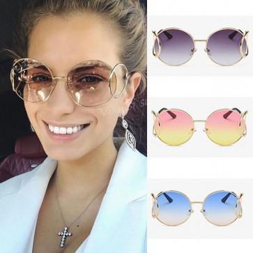 Retro round gradient lens colorful oversize sunglasses