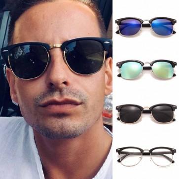 Half Frame Rivets Detail Vintage Rectangle Sunglasses