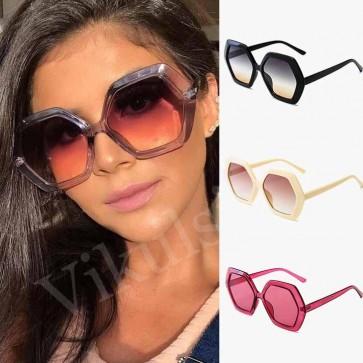Colorful gradient tint hexagon oversize sunglasses