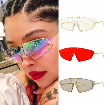 One Piece Lens Pointy Cat Eye Sunglasses Metal Frame
