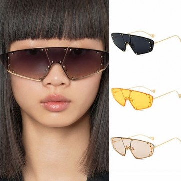 Studded Mono Shield Lens Steampunk Cat Eye Sunglasses
