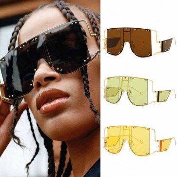 Futuristic Aviator Goggles Punk Side Shields Sunglasses