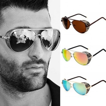 Steampunk mesh side shields aviator mirrored sunglasses