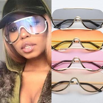 Oversize Shield Clear Lens Metal Frame Pilot Sunglasses