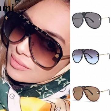 Fashion aviators flat top big frame shield sunglasses