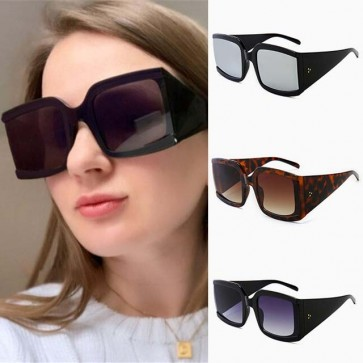 Large Boxy Frame Tapered Temples Oversized Sunglasses