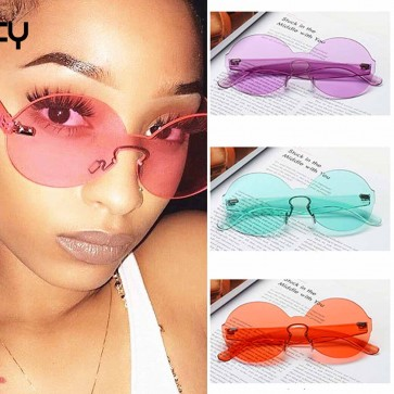 Round sunglasses rimless one piece transparent lens