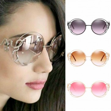 Double rims oversized round gradient bling sunglasses