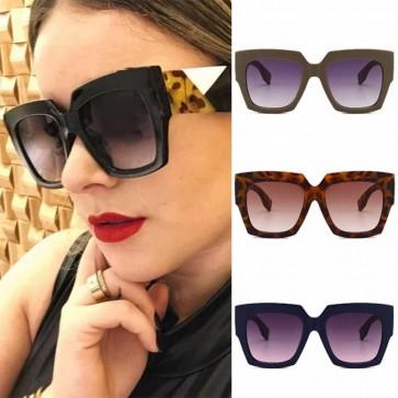 Gradient Lens Large Horn Rimmed Retro Square Sunglasses