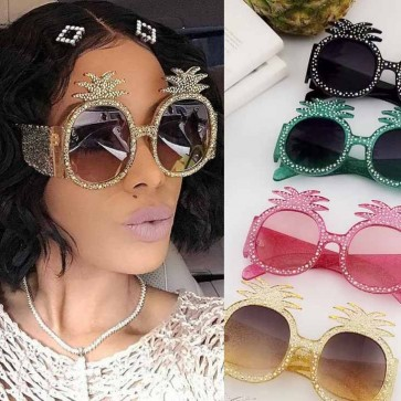 Colorful Festival Pineapple Luxury Bling Sunglasses