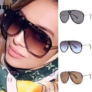 Fashion aviators flat top big frame shield sunglasses