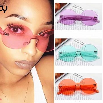 Round sunglasses rimless one piece transparent lens