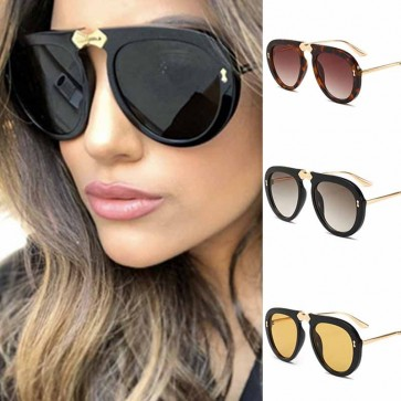 Flat Top Aviator Sunnies Bold Rim Frame Tear Drop Lens