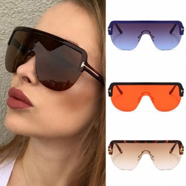 Oversized Lens Tear Drop Shaped Flat Top Sunglasses