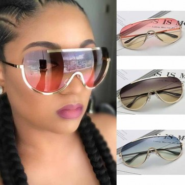 Shield one piece lens gold tone rim iconic aviators