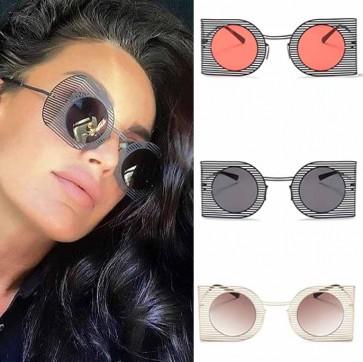 Oversize line shaped metal frame round punk flat lens