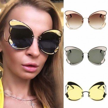 Gold tone edge embellished rimless butterfly sunglasses