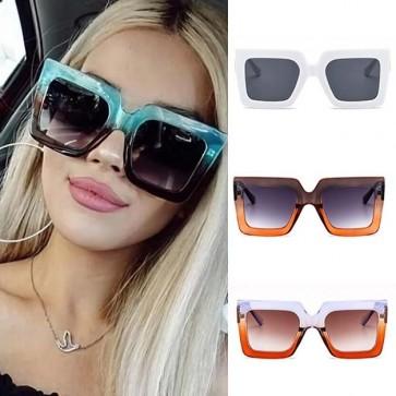 Oversized Boxy Lens Two Tone Frame Square Sunglasses