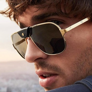 Metal Pilot Sunglasses Removable Leather Nose Bridge