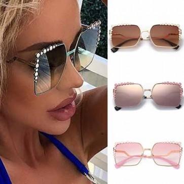 Polka dot embellished rectangle oversize sunglasses