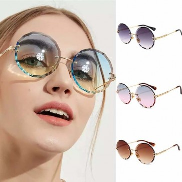 Rimless Shades Faceted Round Flat Lens Sunglasses