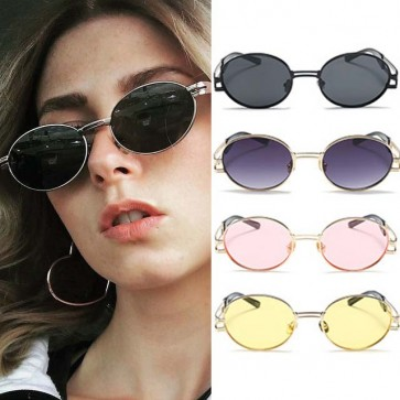 Steam punk solid tint vintage small round sunglasses