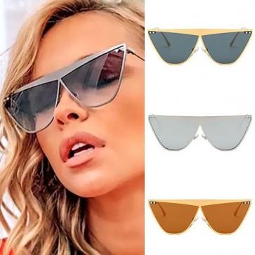 Modern Light Metal Frame Flat Top Cat Eye Sunglasses