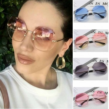Oversized Hexagon Sunglasses Transparent Rimless Lens