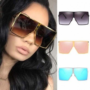 Flat Top Oversize Sunglasses Shield Lenses Square Frame