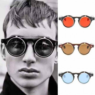 Vintage Round SteamPunk Flip Up Classic Sunglasses