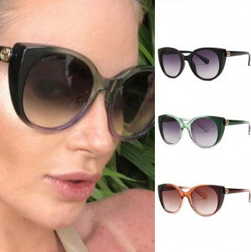 Vintage oversize frame cat eyes silhouette sunglasses