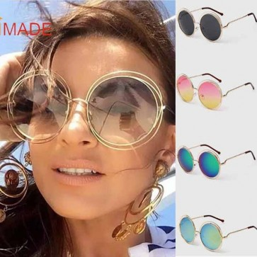 Round Double Rims Silhouette Cute Oversize Sunglasses