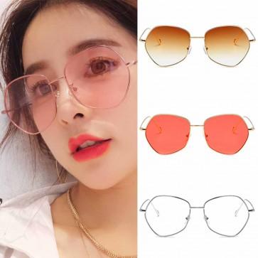 Dapper indie candy color flat lens pentagon sunglasses