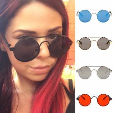 Dapper vintage punk sunglasses circle flat lens shades