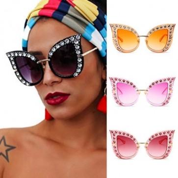 Retro Glam High Pointed Tip Bling Cat Eye Sunglasses